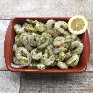 Scampi in marinade gepeld